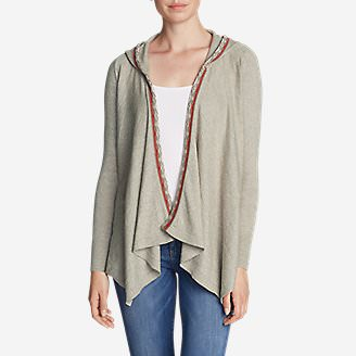 Women's Christine Hoodie Cardigan Sweater in Beige