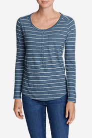 Women's Gypsum Long-Sleeve Henley Shirt - Stripe in Blue