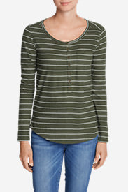 Women's Gypsum Long-Sleeve Henley Shirt - Stripe in Green