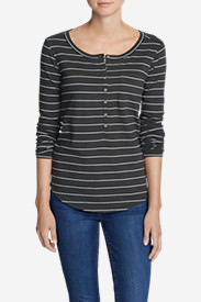 Women's Gypsum Long-Sleeve Henley Shirt - Stripe in Gray