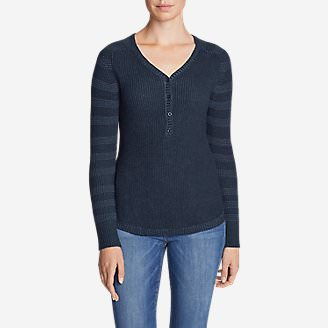 Women's Sweatshirt Sweater Henley - Stripe in Blue
