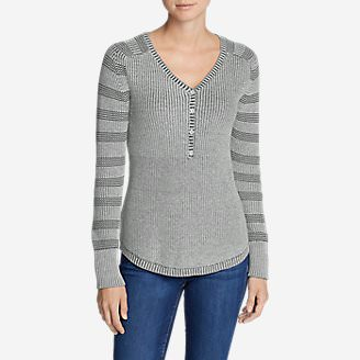 Women's Sweatshirt Sweater Henley - Stripe in Gray