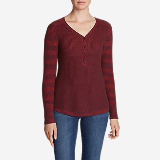 Women's Sweatshirt Sweater Henley - Stripe in Red