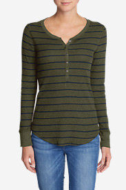 Women's Stine's Favorite Waffle Henley - Stripe in Green