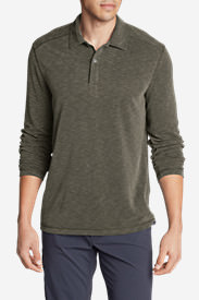 Men's Contour Long-Sleeve Polo Shirt in Green