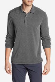 Men's Contour Long-Sleeve Polo Shirt in Gray