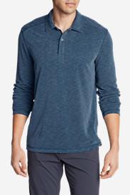 Men's Contour Long-Sleeve Polo Shirt in Blue
