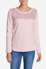 Women's Shoreline Embroidered-Yoke Crewneck Sweatshirt in Purple