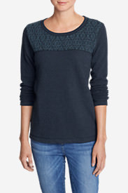 Women's Shoreline Embroidered-Yoke Crewneck Sweatshirt in Blue