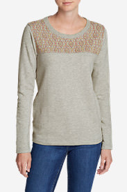 Women's Shoreline Embroidered-Yoke Crewneck Sweatshirt in Gray