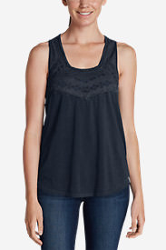 Women's Gypsum Embroidered Tank Top in Blue