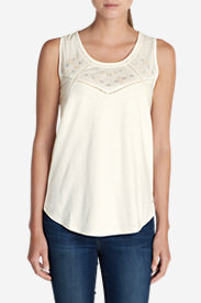 Women's Gypsum Embroidered Tank Top in White