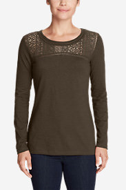 Women's Long-Sleeve Crochet Top Slub T-Shirt in Green