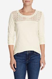 Women's Long-Sleeve Crochet Top Slub T-Shirt in White