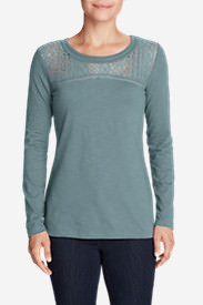 Women's Long-Sleeve Crochet Top Slub T-Shirt in Blue