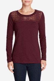 Women's Long-Sleeve Crochet Top Slub T-Shirt in Red