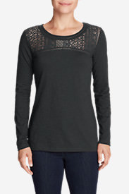 Women's Long-Sleeve Crochet Top Slub T-Shirt in Gray