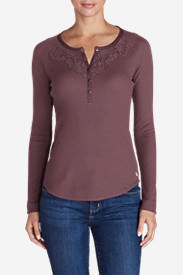 Women's Stine's Favorite Waffle Lace Bib Henley in Red