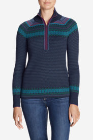Women's Engage 1/4-Zip Sweater - Pattern in Blue