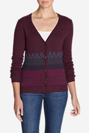 Women's Christine Fair Isle Cardigan Sweater in Purple
