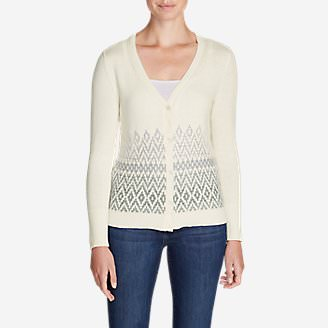 Women's Christine Fair Isle Cardigan Sweater in White