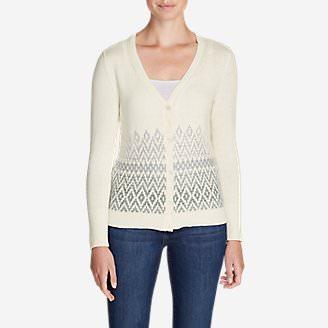 Women's Christine Fair Isle Cardigan Sweater in White