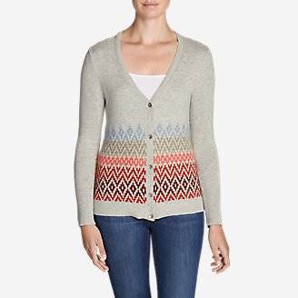 Women's Christine Fair Isle Cardigan Sweater in Gray