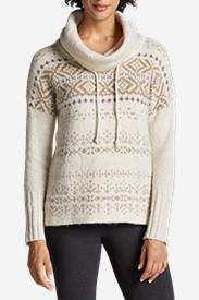 Women's Funnel Neck Sleep Pullover - Pattern in Beige