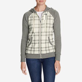 Women's Legend Wash Full-Zip Hoodie - Plaid in White