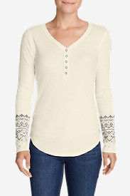 Women's Stine's Favorite Waffle Henley - Pattern in White