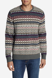 Men's Fair Isle Crew Sweater in Red