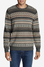 Men's Fair Isle Crew Sweater in Brown