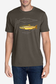 Men's Graphic T-Shirt - Brown Trout in Gray