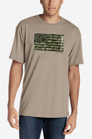Men's Graphic T-Shirt - Camo Flag in Beige