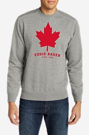 Men's Camp Fleece Crew - Maple Leaf Graphic in Gray