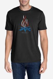 Men's Graphic T-Shirt - Patriotic Flames in Black