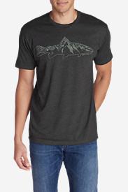 Men's Graphic T-Shirt - Mountain Fish in Gray