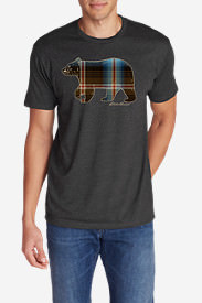 Men's Graphic T-Shirt - Plaid Bear in Gray
