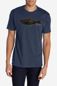Men's Graphic T-Shirt - Plaid Fish in Blue