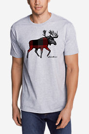 Men's Graphic T-Shirt - Plaid Moose in Gray