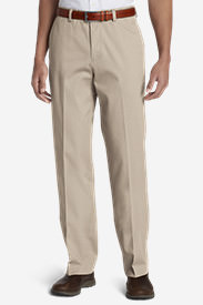 Pre-Hemmed Wrinkle-Free Relaxed Fit Flat-Front Performance Dress Khaki Pants in White