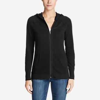 Women's Mesh Hoodie Sweater in Black