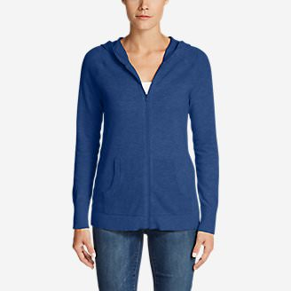 Women's Mesh Hoodie Sweater in Blue