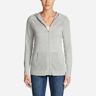 Women's Mesh Hoodie Sweater in Gray