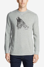 Men's Graphic Thermal Crew - Howling Wolf in Gray