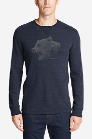 Men's Graphic Thermal Crew - Growling Bear in Blue