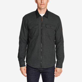 Men's Eddie's Favorite Flannel Sherpa-Lined Shirt Jacket in Gray