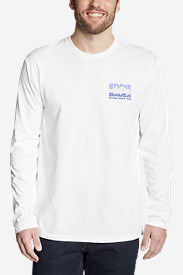 Men's Graphic Long-Sleeve T-Shirt - Tri-Line Mountain in White