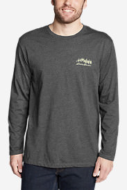 Men's Graphic Long-Sleeve T-Shirt - Forest Script in Gray