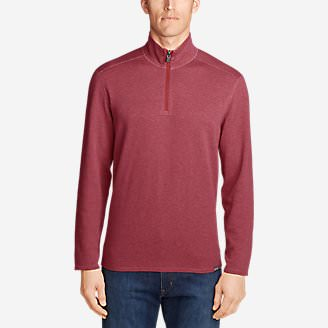 Men's Riverfront Reversible Double-Knit 1/4-Zip in Red